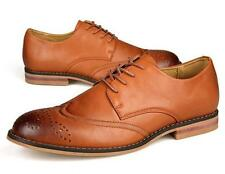 New mens fashion lace uo wing tip axfords brogues faux leather dress shoes man