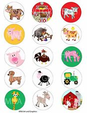 Farm animals bottle cap IMAGES 1 inch  - cow - sheep - horse farm animals mix