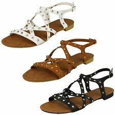 Ladies Spot On Flat Studded X Strap Ankle Buckle Sandals