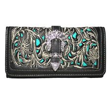 Premiun Floral Rhinestone Buckle Trifold Women's Wallet Extra Checkbook 4 color