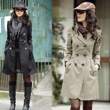 Women's Slim Fit Trench Charm Double-breasted Coat Fashion Jacket LM