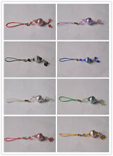 2 Pcs Metal Charms Bead Glass Bead Cell phone Straps keychain 6 Colors 6.24""