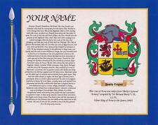 "WELSH HERITAGE COAT OF ARMS & SURNAME HISTORY PRINT 10"" x 8"" & A4 FREE GIFT"