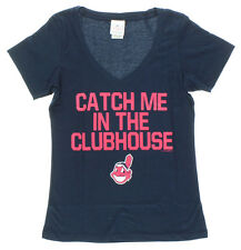 5TH & OCEAN Womens Cleveland Indians Catch Me in Clubhouse T Shirt Navy Blue