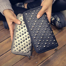 Women Leather Clutch Wallet Rivet Card Money Holder Purse Punk Handbag Bag Black