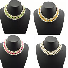 New Arrival Fashion Gold Plated Resin Gem Choker Bib Statement Necklace