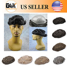 BHD Medium Density Skin Mens HairPiece Toupee Wig Black With Gray Poly Base