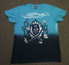 ED Hardy Men's Two Swords Flaming Skull Dip Dye T-shirt Blue