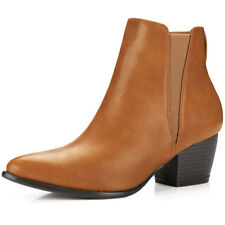 Women Pointed Toe Stacked Heel Ankle Chelsea Boots