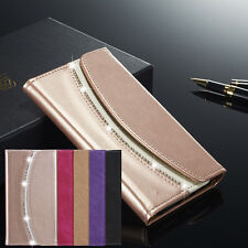 Luxury Diamond Crystal Magnetic Leather Flip Wallet Case Cover For Samsung