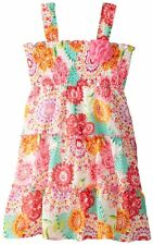 POGO CLUB Girls Smocked Top Floral Print Chiffon Tiered Dress Size 5 5/6 NWT