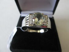 Mens Green Amethyst (Prasiolite) Ovl 2.40 cts. Ring (Size 12) Stainless Steel