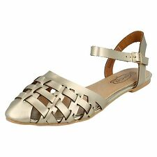 LADIES SPOT ON FLAT ANKLE BUCKLE STRAP SLING BACK POINTED TOE SANDALS F0956