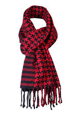 Charter Club Women's Fringed Houndstooth Striped Cashmere Scarf (OS, Scarlet)