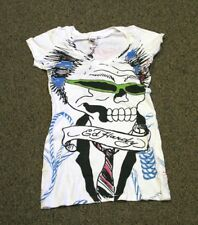 ED Hardy Women's V-NECK Business skater PUNK skull White T-Shirt