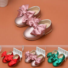 Baby Girls PU Leather Big Bow Soft Toddler Princess Shoes 0-2Y