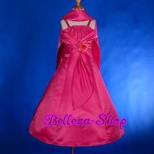 Rhinestones Satin Wedding Flower Girl Dress Shawl Pageant Party Size 2T-12 FG175
