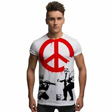 Banksy Peace Soldiers Full Front Sublimation Graffitti Street Art Mens T Shirt