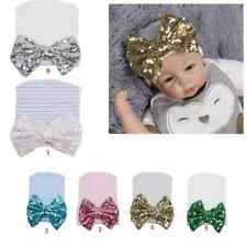 Infant Girls Baby Stripe Sequined Bowknot Hospital Beanie Hat Cotton Knit Cap