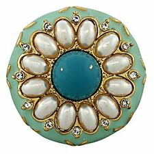 Fashion Alloy Gold-Tone Simulated Pearl Turquoise-Tone Enamel Cocktail Ring