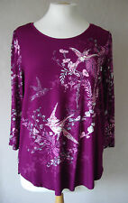 NEW M&S - size 8 - 16 - lovely Cerise/ Purple pink print ladies TOP Tunic- BNWoT