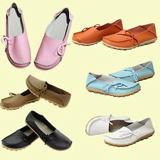 Fashion Women Leather Slip on Flat Shoes Moccasin Bow Loafer Boat Shoes Stunning
