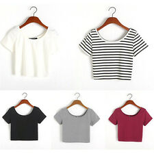 Fashion Womens Sexy Short Sleeve Crop Tops Yoga Casual Blouse Vest T-Shirts New