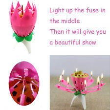 Special Magical Flower Happy Birthday Blossom Lotus Musical Candle Party Gift WK