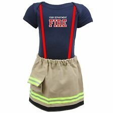 Personalized Baby Firefighter Costume Outfit with Skirt Like Turnout Bunker Gear