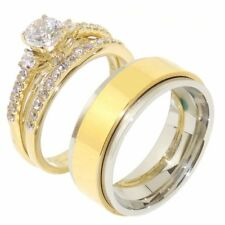 3 PCS Couple Hers Round CZ Gold IP Stainless Steel Ring SET/ Mens Spinning Band