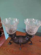 RARE ANTIQUE VICTORIAN(C1880)HINKS TWIN SILVER OIL LAMP-FINE ETCHED TULIP SHADES