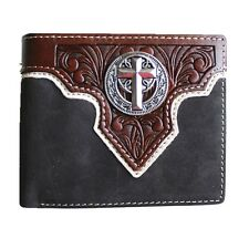 Premium Tooled Genuine Leather Cross Concho Men's Bifold Wallets in 3 Colors