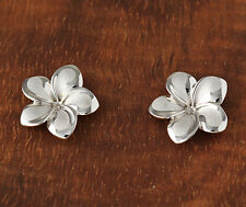 14K Solid Gold Plumeria Flower Post Earrings Hawaiian Jewelry(13mm)