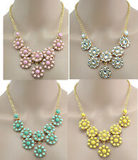 New Fashion Lovely Gold Plated Resin Gem Rhinestone Flower Choker Necklace