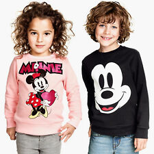 Kids Girls Boys Mickey Minnie Mouse T-shirt Tops Pullover Sweatshirt Coat 2-7Y