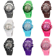 New Unisex Women Candy Color Day Silicone Jelly Quartz Analog Sports Wrist Watch