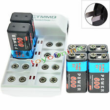 6x 9V 6F22 PPS 600mAh Ni-Mh Rechargeable Battery + 8 Slot Batteries Charger