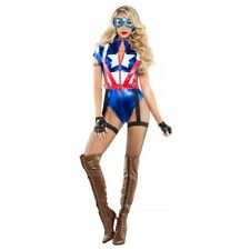 Captain America Costume Adult Female Superhero Cosplay Halloween Fancy Dress