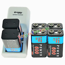 6x 9V 6F22 PPS Block 600mAh Ni-Mh Rechargeable Battery + Dual Batteries Charger