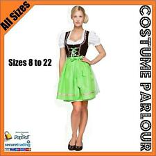 Womens Authentic Green German Dirndl Oktoberfest Dress Ladies Costume Sizes 6-22