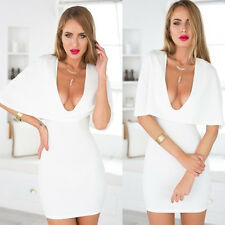 Women Sexy White Cloak Deep V-neck Bodycon Package Hip Evening Party Mini Dress