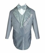 Baby Boys Grey Tuxedo Tail Suit 5 Pieces Christening Wedding Page Boy Outfit