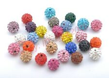 10PCS CZECH CRYSTAL RHINESTONES PAVE CLAY ROUND DISCO BALL SPACER BEADS 8MM 10MM