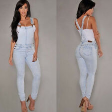 HOT Womens Denim Jumpsuit Overall Jumper Romper Coverall Jeans Overalls Catsuit