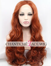 Lace Front Wigs Synthetic Hair Copper Red Long Natural Wavy Full Wig Heat Safe