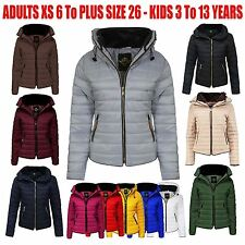 New Ladies Womens Fur Collar Quilted Padded Puffer Bubble Warm Thick Jacket Coat