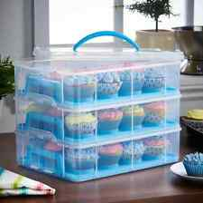 Storage Container Snap Stack Blue 3 Tier Cupcake Holder Cake Carrier Kitchen Box