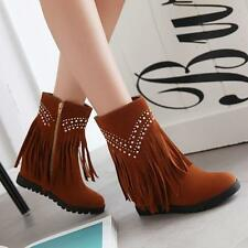Womens Tassels Faux Suede Shoes High Top Hidden Wedge Heels Flat Ankle Boots Q07