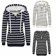 Womens Elegant Long Sleeve Striped Pullover Hooded Hoodie Sweatshirt Tops Casual