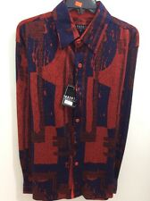 Pronti Collection by phita mens fashion long sleeves Navy/Red Jacquard shirt New